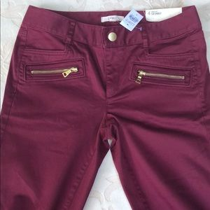 "LOFT Dark Red Zipper ""Marisa-Fit"" Skinny Jeans"